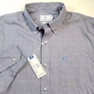 Southern Tide Blue Plaid Sport Shirt Cotton